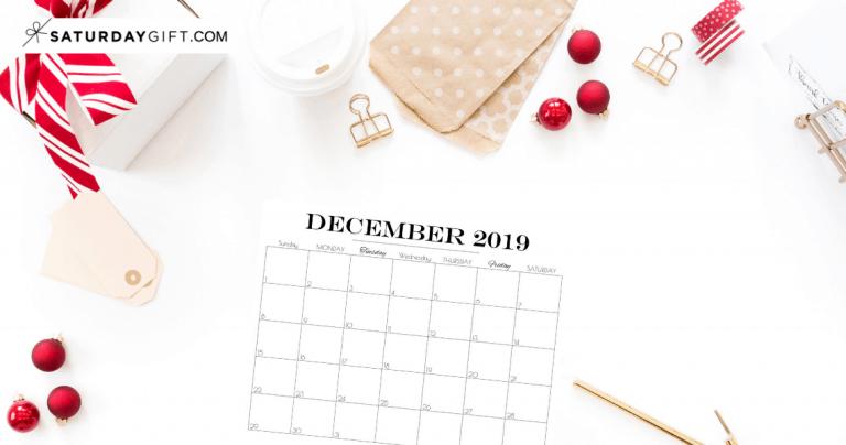 Printable December 2019 Calendar {Free & pretty Printables}