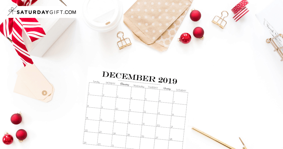 Pretty printable December 2019 Blank Calendar Vertical & horizontal Sunday Start Monday start Dated {Free Printables} | SaturdayGift