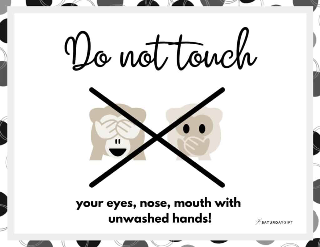 Do not touch - Wash Hands Sign Printable Black & White Landscape | SaturdayGift
