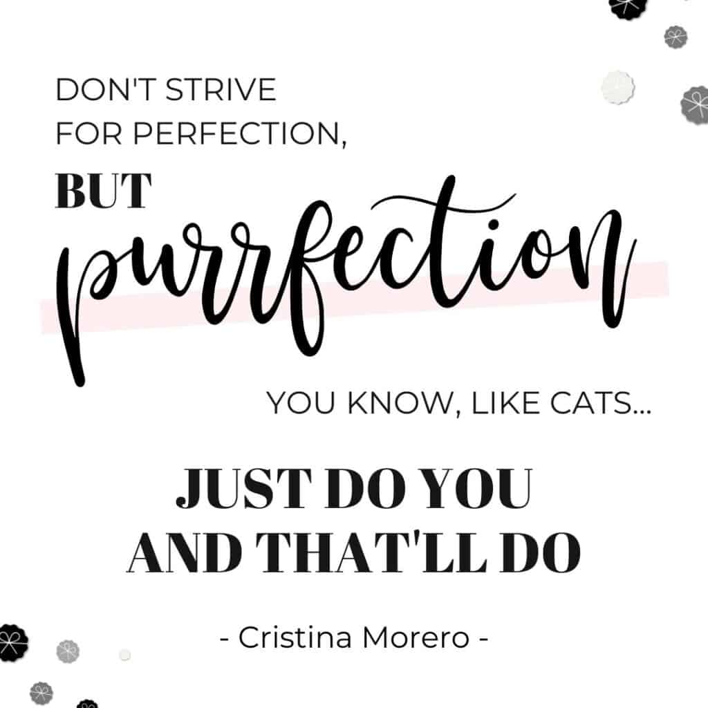 Don't strive for perfection but purrfection - you know like cats - just do you and that'll do - Cristina Morero - Perfectionism Quotes