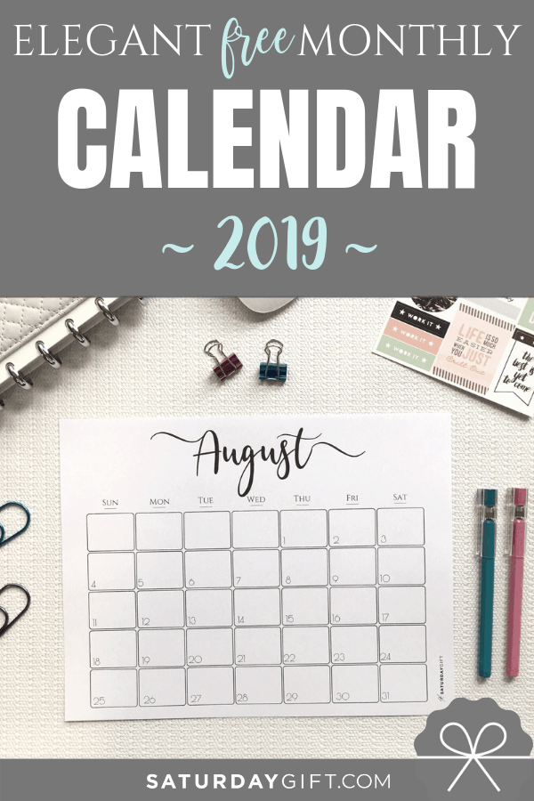 elegant 2019 calendar  free printables