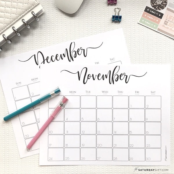 Elegant printable 2021 Calendar - November and December