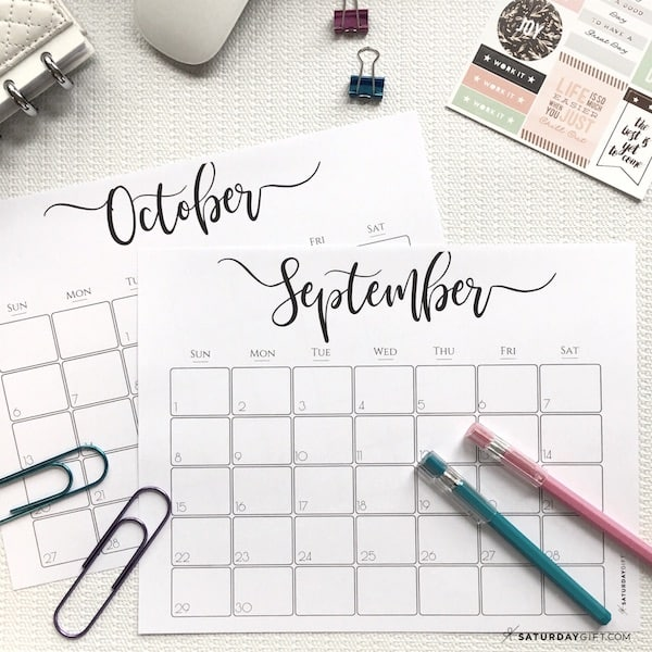 Elegant printable 2021 Calendar - September & October