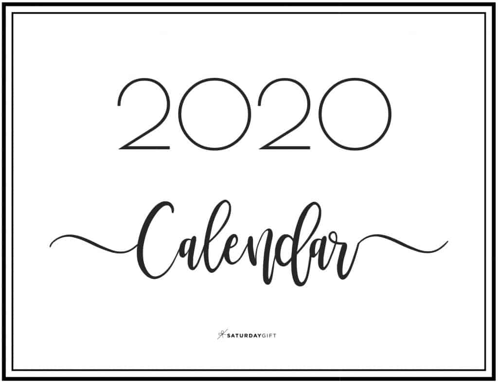 Elegant 2020 Calendar - free printables   Pretty printable   Planner sheet   Planning & Organizing   2020 Calendar   Black & white calendar   Minimalistic, pretty & simple   SaturdayGift   Saturday gift #SaturdayGift