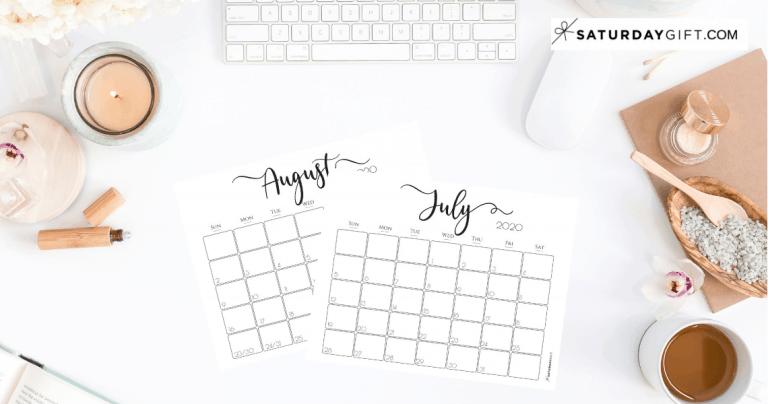 Elegant 2020 Calendar {Free Printables}