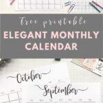 Elegant monthly 2020 calendar - free printable