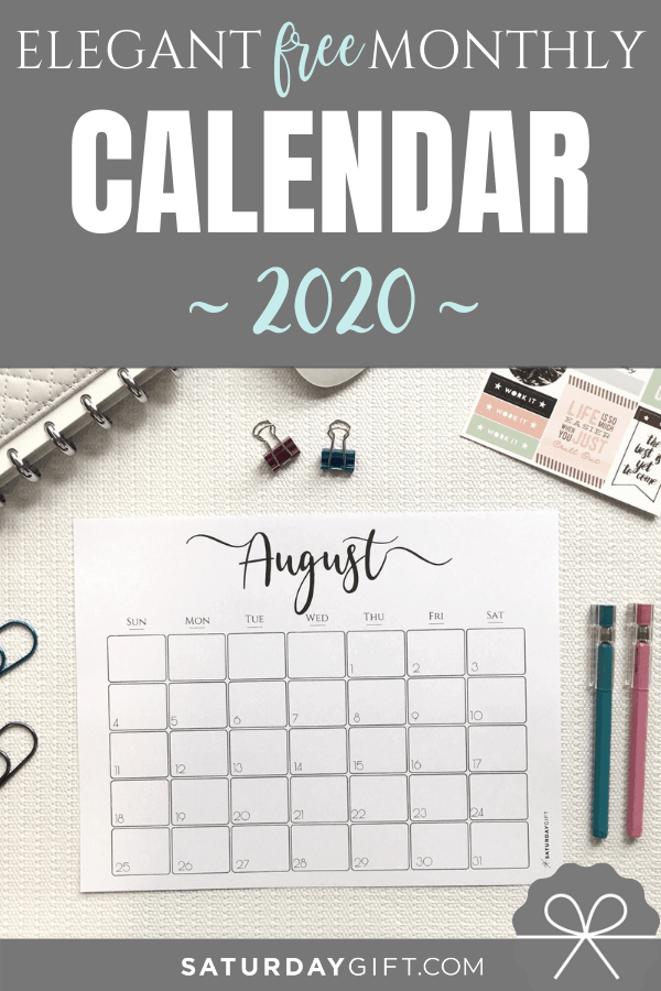 graphic relating to Free Printable Organizing Sheets called Tasteful 2020 Calendar No cost Printables SaayGift