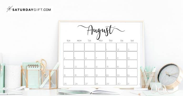 Elegant 2021 Calendar by SaturdayGift – Pretty Printable Monthly Calendar