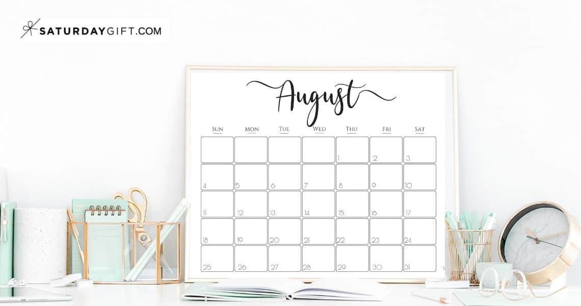 Elegant horizontal monthly calendar