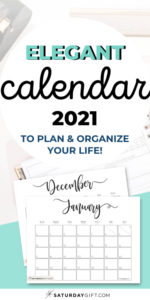 Elegant 2021 horizontal printable calendar January - December Pinterest Image