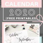 Elegant monthly 2020 calendar