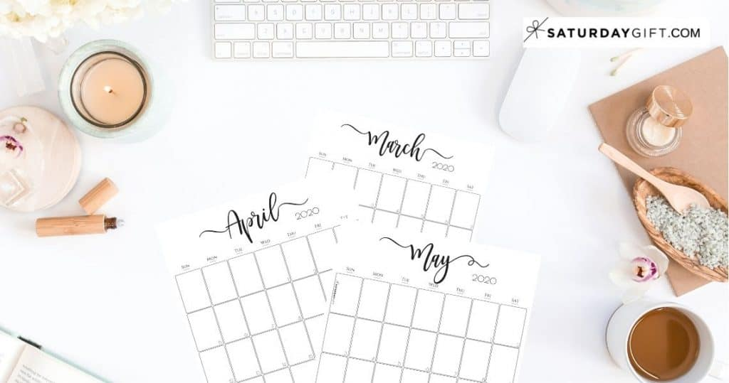 Stylish, cute (and free!) vertical 2020 Monthly Calendars {Free Printables}   SaturdayGift