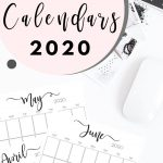 Stylish, cute (and free!) vertical 2020 Monthly Calendars {Free Printables} | SaturdayGift