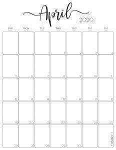 Elegant Vertical April 2020 Monthly Calendar {Free Printable}   SaturdayGift