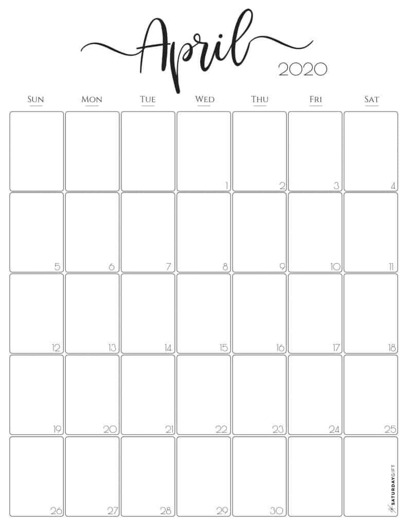Elegant Vertical April 2020 Monthly Calendar {Free Printable} | SaturdayGift
