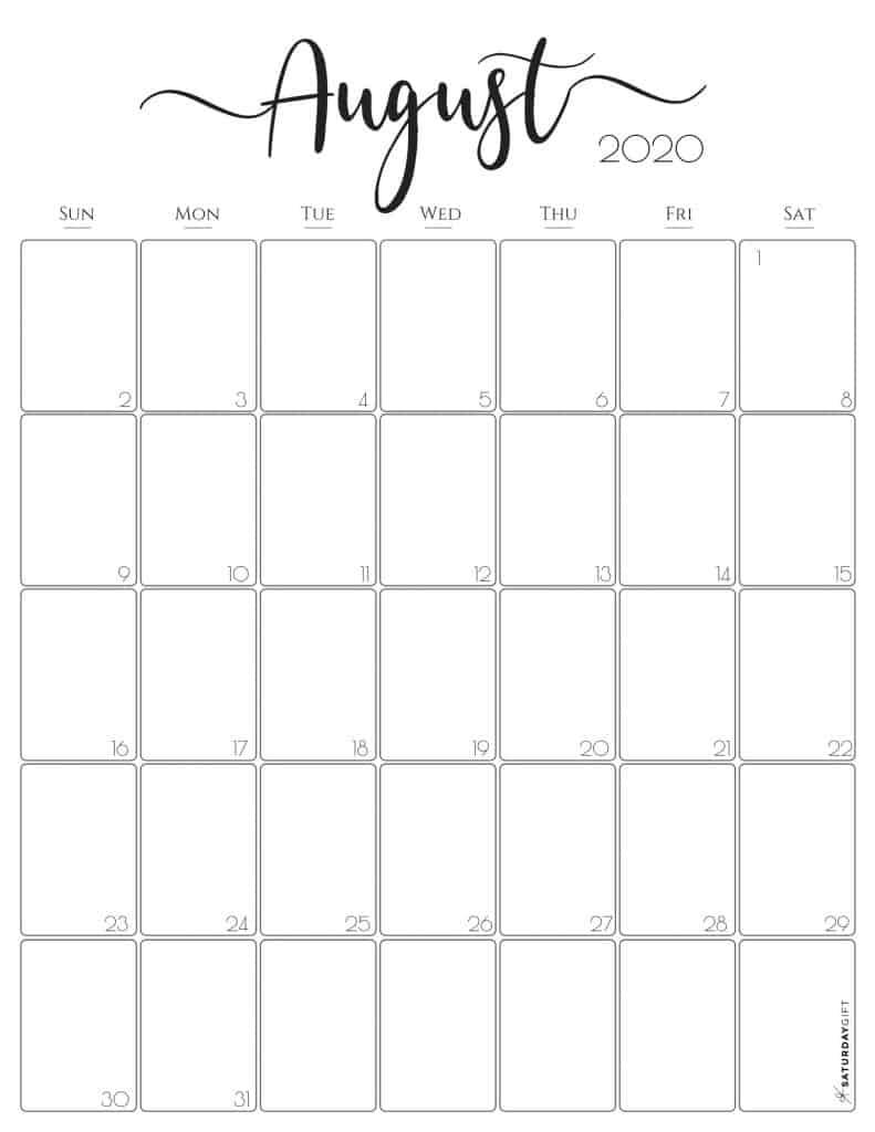 August 2020 Calendar {Free (&pretty!) Printable} | SaturdayGift