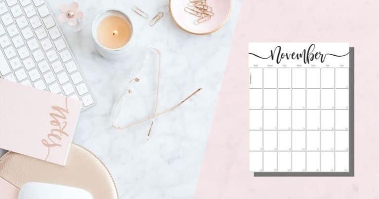 Elegant Vertical November 2019 Calendar {Free Printable}