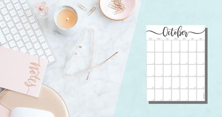 Elegant Vertical October 2019 Calendar {Free Printable}