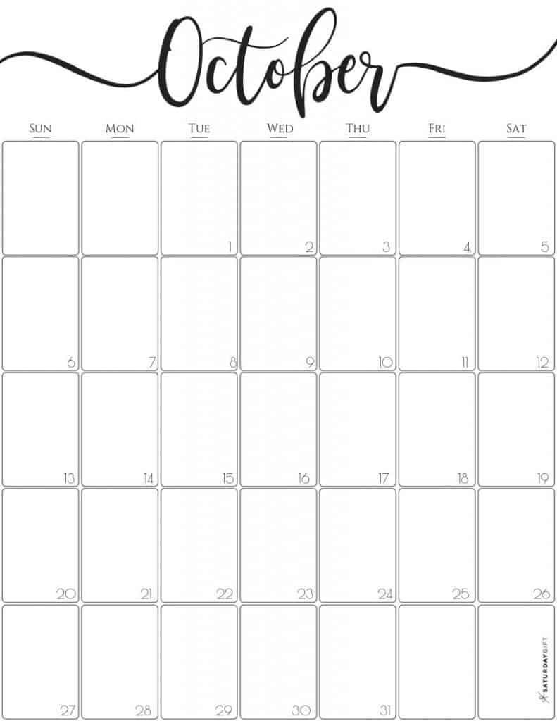 Plan your life with this elegant vertical October 2019 Calendar {Free printable}. Sunday start. Letter size.Resizable.Black & white and very pretty.