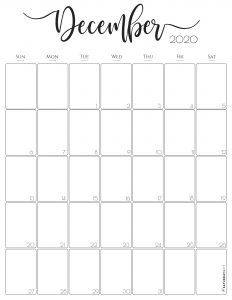 Stylish, cute (and free!) December 2020 Monthly Calendar {Free Printables} | SaturdayGift