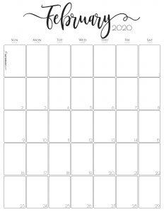 Elegant Vertical February 2020 Monthly Calendar {Free Printables} | SaturdayGift