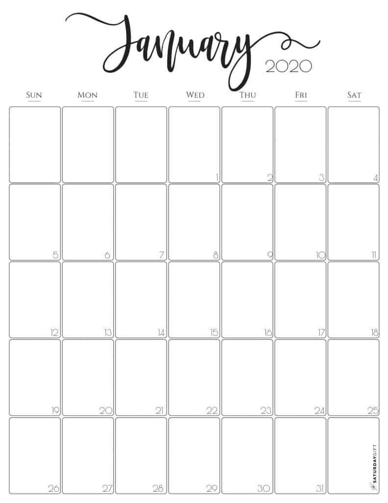 Stylish (and free!) January 2020 Monthly Calendar {Free Printables} | SaturdayGift