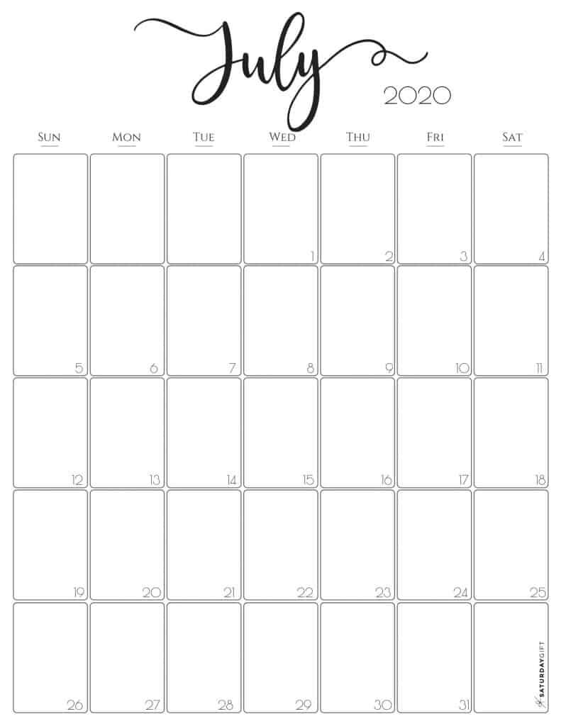 Elegant July 2020 Calendar {Free Printables} | SaturdayGift