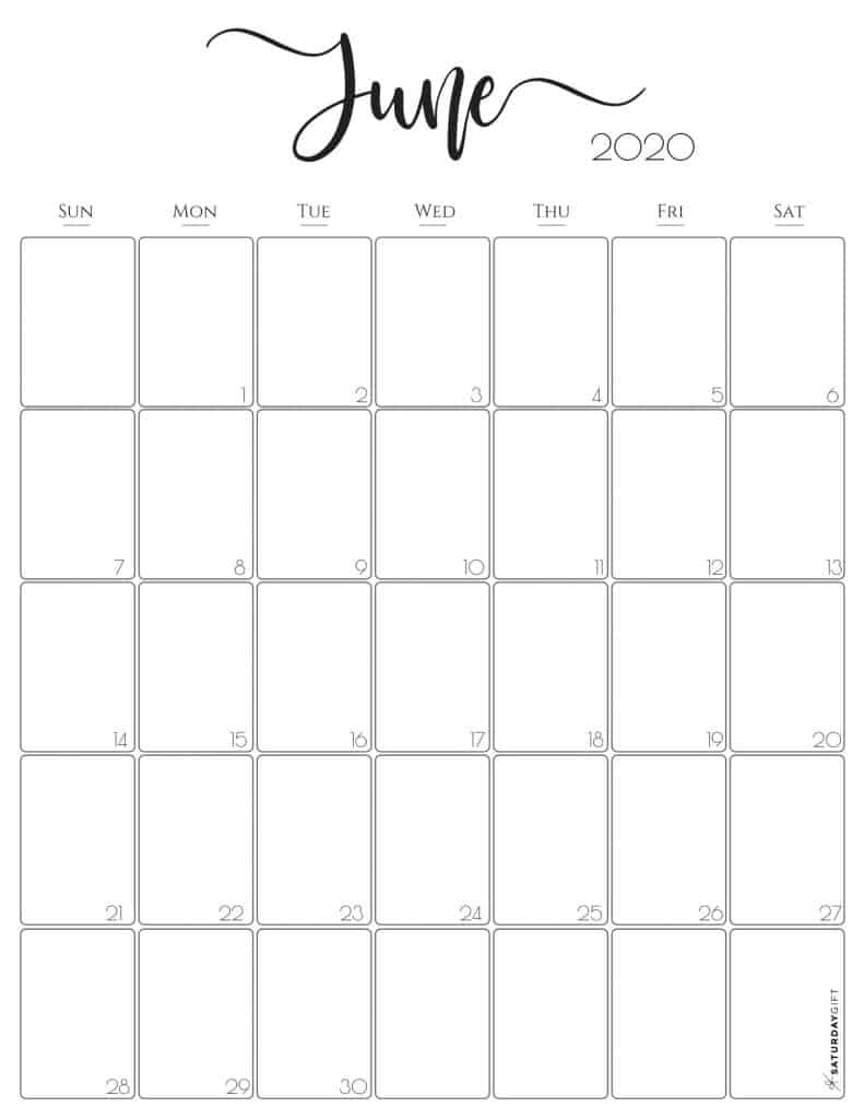 Stylish, cute (and free!) June 2020 Monthly Calendar {Free Printables} | SaturdayGift