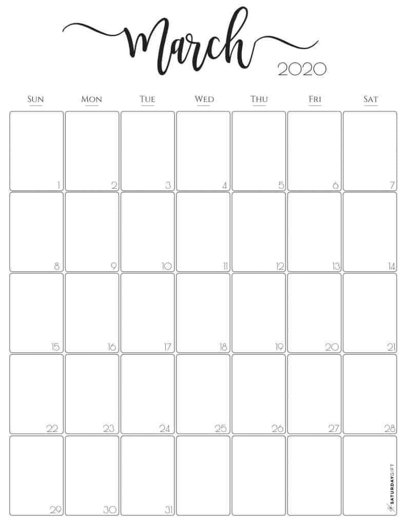 Stylish, cute (and free!) March 2020 Monthly Calendar {Free Printables} | SaturdayGift