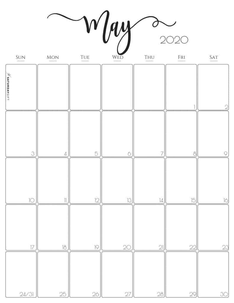 Stylish, cute (and free!) May 2020 Monthly Calendar {Free Printables} | SaturdayGift