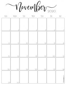 Stylish, cute (and free!) November 2020 Monthly Calendar {Free Printables} | SaturdayGift