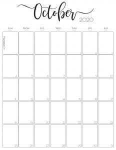 Stylish, cute (and free!) October 2020 Monthly Calendar {Free Printables} | SaturdayGift