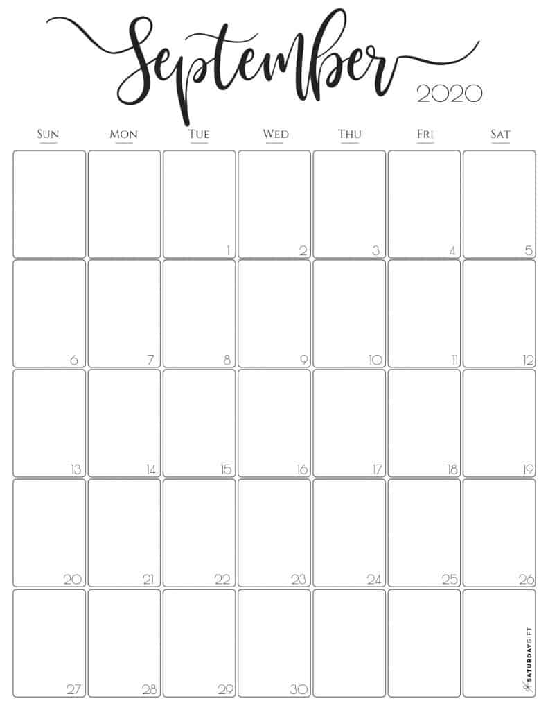 Stylish, cute (and free!) September 2020 Monthly Calendar {Free Printables} | SaturdayGift