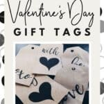Click & download a pretty set of black and white Valentine's Day gift tags. Free printables.