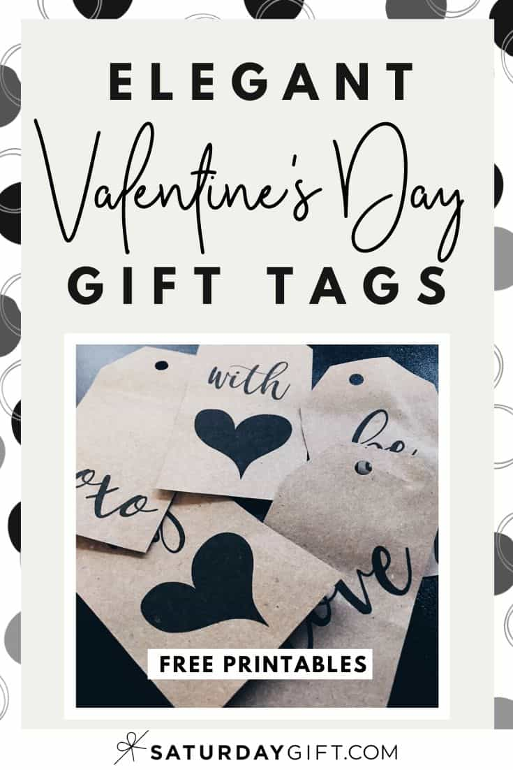 Click & download a pretty set of black and white Valentine\'s Day gift tags. Free printables. Includes words and sayings like: with love, be mine, xoxo...