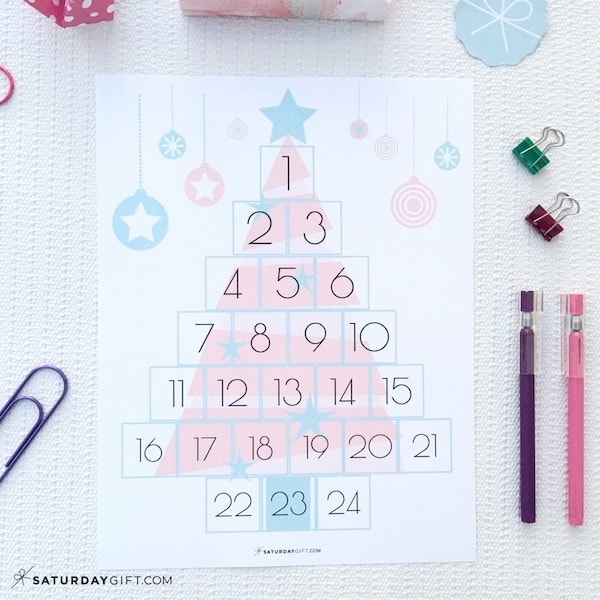 Christmas Countdown Printable - Pink Tree by SaturdayGift