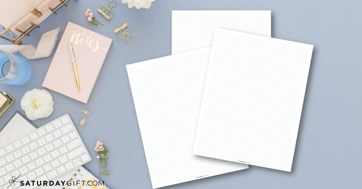 Free printable dot grid paper for your bullet journal Featured Image | SaturdayGift
