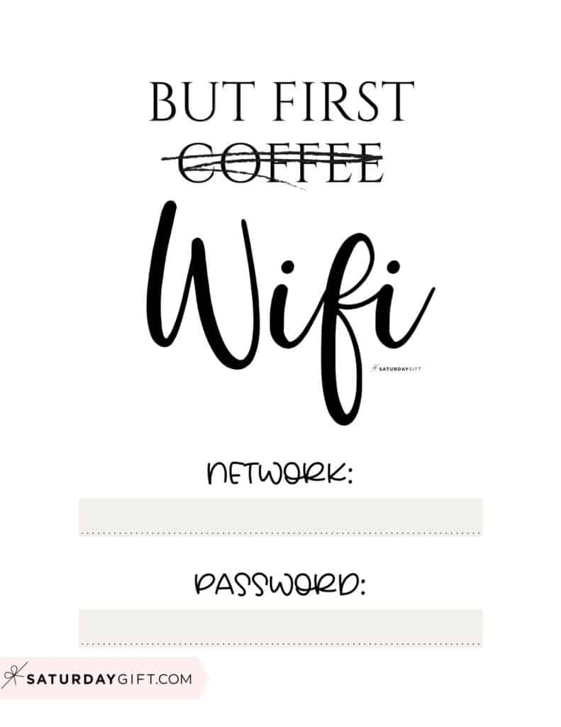Funny wifi sign - but first wifi sign - free printable beige   SaturdayGift