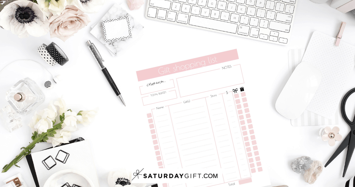 Cute Gift Shopping List (Free Printable) | Smart and savvy | Gift shopping | Free printable | Planner sheet | Planner page | Gift planning | Gift ideas | Organized | Organization | Planning | SaturdayGift | Saturday gift #SaturdayGift