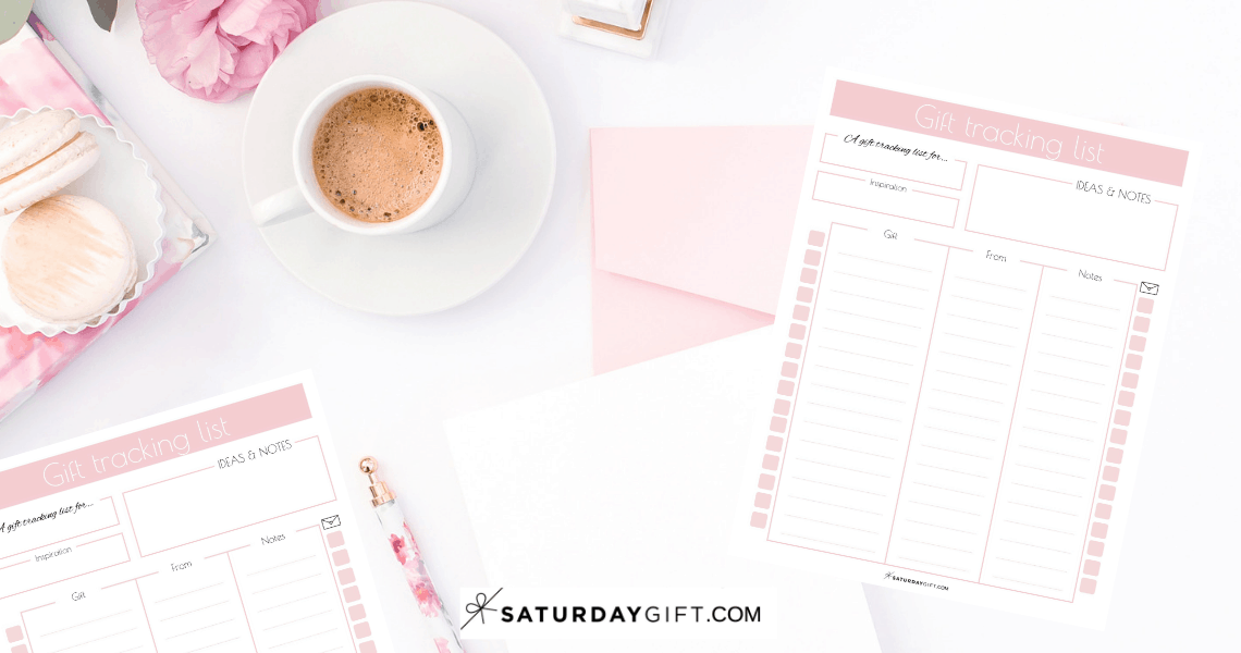 Pretty and Practical Gift Tracking List | Never forget to say thank you | Organized | Gift Tracker | Pretty Printable | Free printable | Planner sheet | Planner page| Gift planning | SaturdayGift | Saturday gift #SaturdayGift