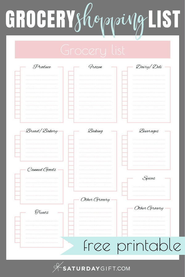 Pretty Grocery Shopping List - free printable | Grocery List | Planning | Organized | Save money | Save time | On a budget | Meal Planning | Pretty printable | Free printable | Planner sheet | Planner page| Planning |Shopping list | SaturdayGift | Saturday gift #SaturdayGift