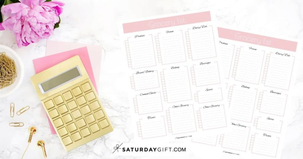 Cute Printable Grocery Shopping List Featured Image