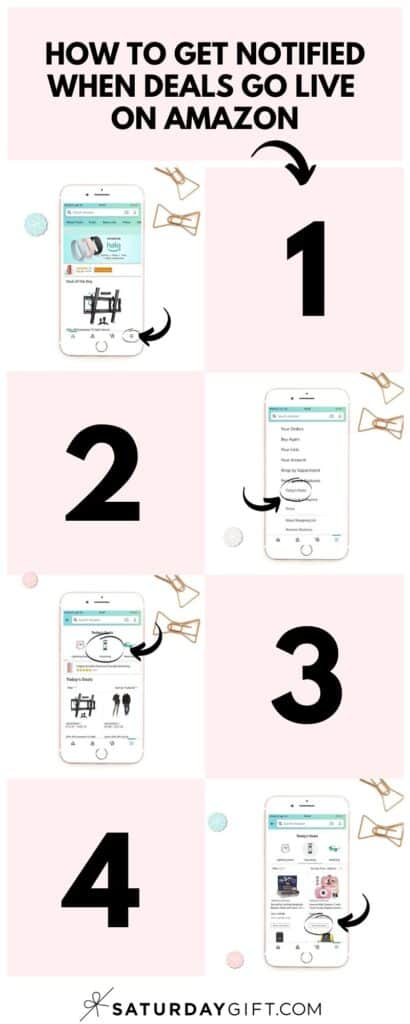 How to get notified when deals go live on Amazon Pink Infographic | SaturdayGift