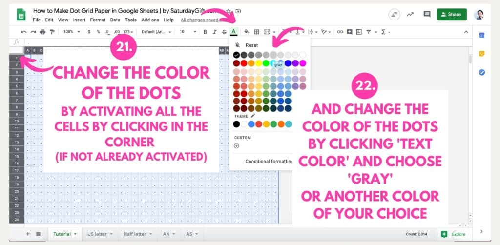 Step 15: How to make dot grid paper in Google Sheets