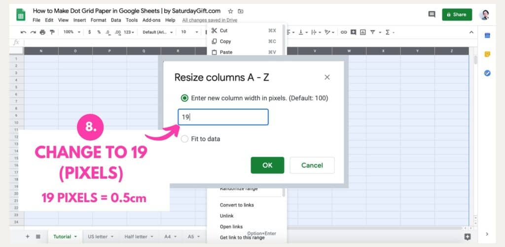 Step 6: How to make dot grid paper in Google Sheets