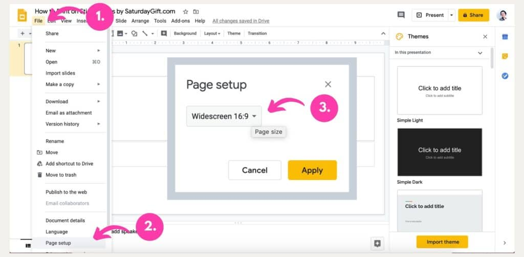 Instructions on how to print on Post-it notes using Google Slides Steps 1-3