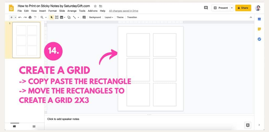 Instructions on how to print on Post-it notes using Google Slides Step 14