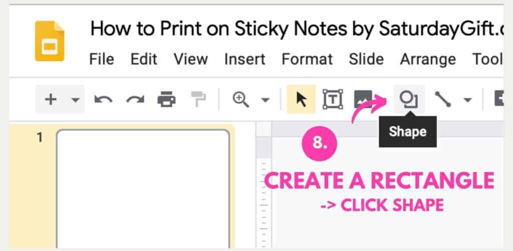 Instructions on how to print on Post-it notes using Google Slides Step 8
