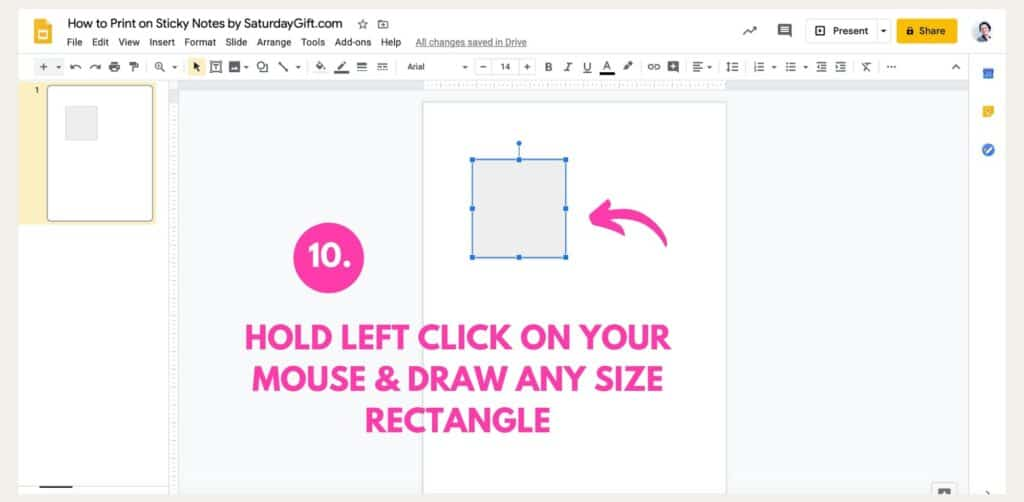 Instructions on how to print on Post-it notes using Google Slides Step 10