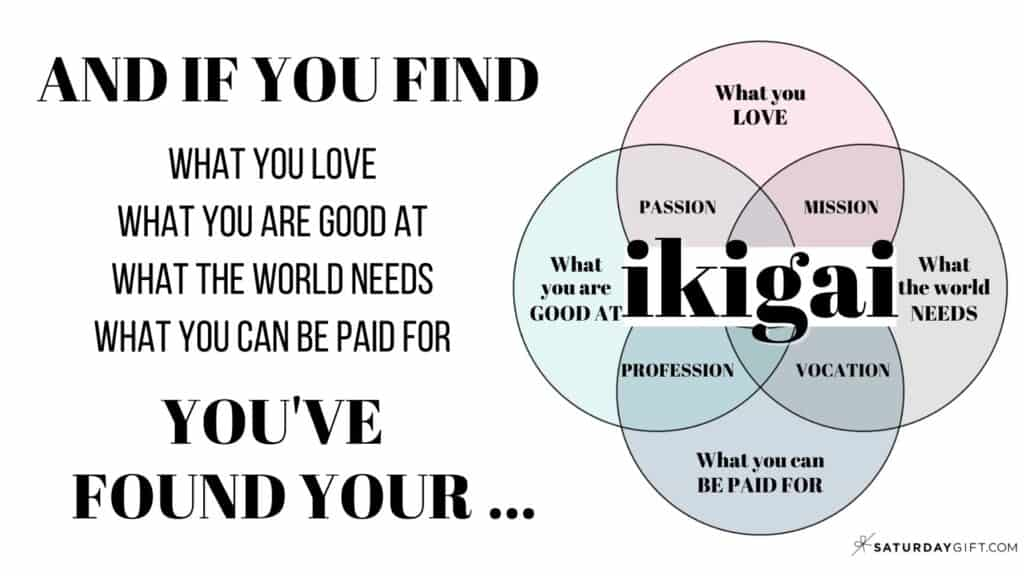 If you find what you love, what you are good at, what the world needs and what you can be paid for - you've found your ikigai